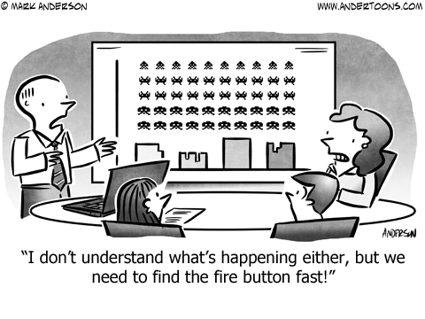 Space Invaders Business Cartoon