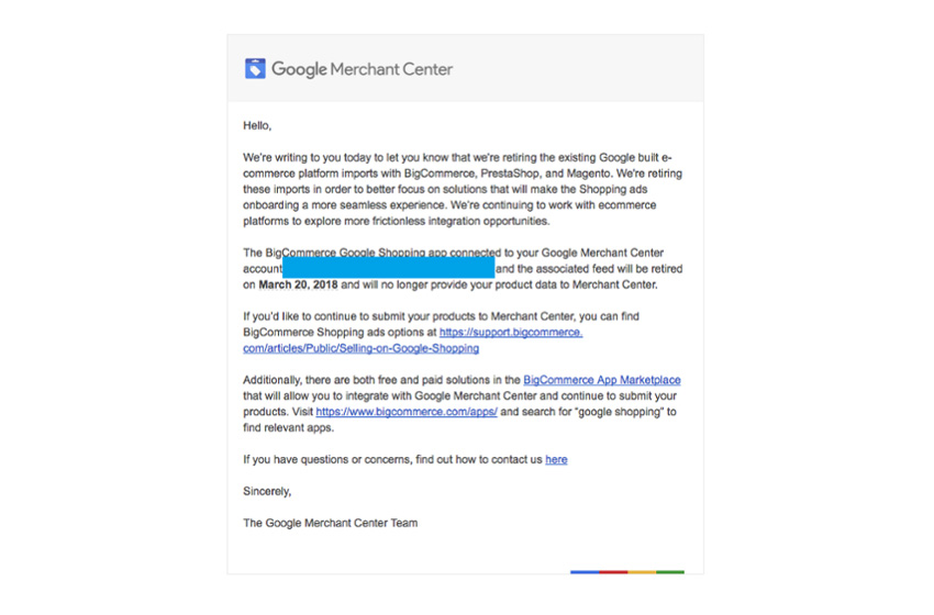 Google is Dropping Merchant Center Feed Support for BigCommerce, Magento, PrestaShop Shops