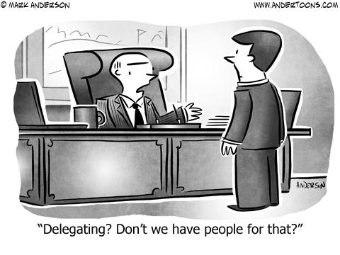 Delegating Business Cartoon