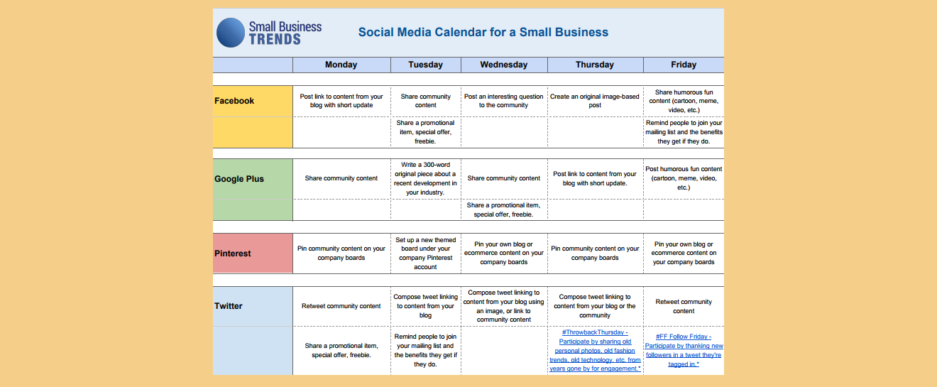 Social Media Calendar Template For Small Business