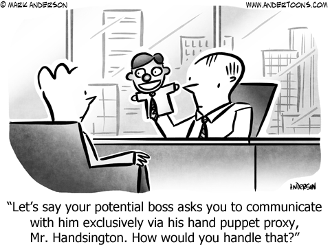 Hand Puppet Business Cartoon