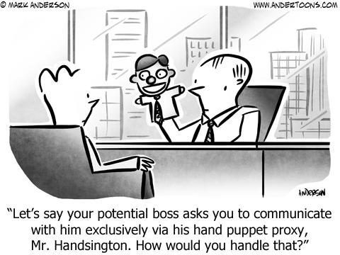 Hand Puppet Business Cartoon