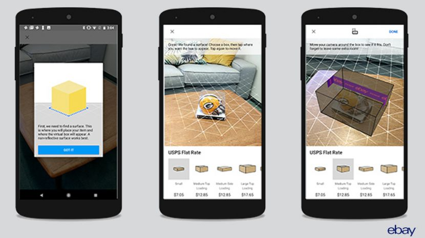 New eBay Augmented Reality Box Feature Finds the Right Size Container for Your Shipment