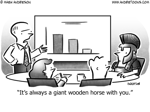 Trojan Horse Business Cartoon