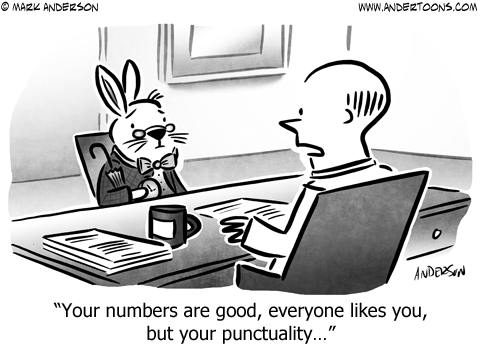 White Rabbit Business Cartoon