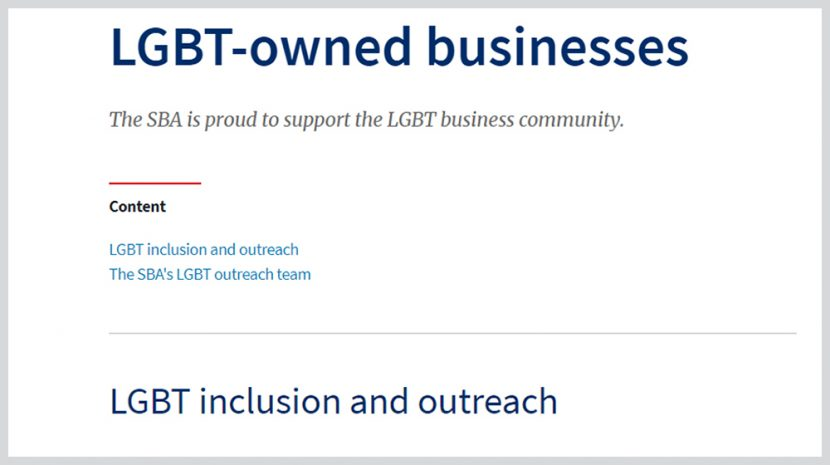 SBA LGBTQ Resources Back on Its Website