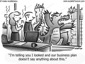 Godzilla Business Cartoon