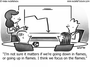 Going Down in Flames Business Cartoon