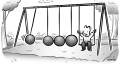Newton's Cradle Business Cartoon