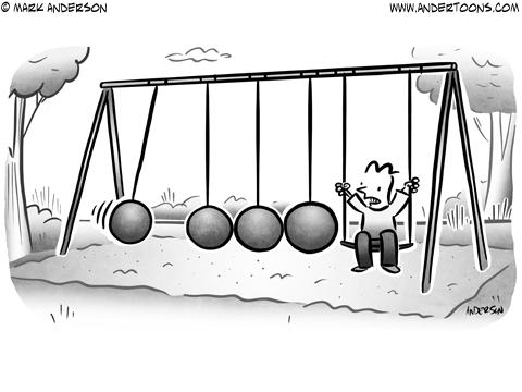 Newton's Cradle Business Cartoon