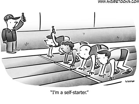 Self-Starter Business Cartoon
