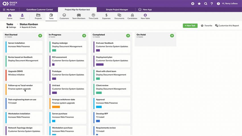 Quick Base Kanban Features Focused on Organizing Your Work Better