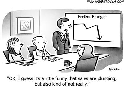 Sales Plunging Business Cartoon