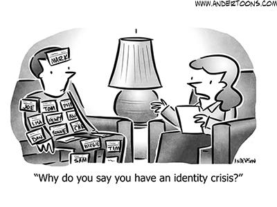 Identity Crisis Business Cartoon