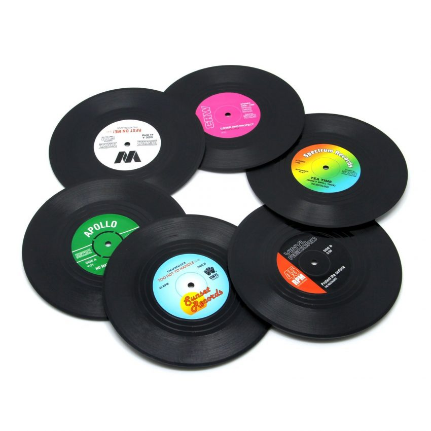 20 Best Business Gifts for Under 10 Dollars - Vinyl Record Coasters