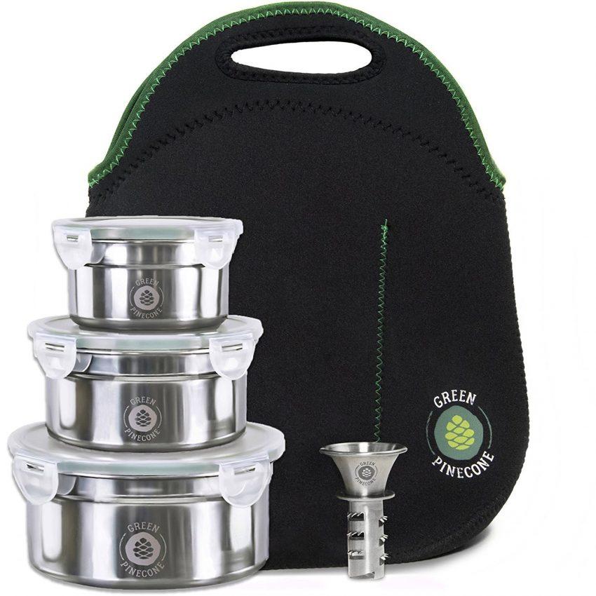 Quelle est la meilleure boîte à lunch professionnelle? Ensemble green Pinecone Leakproof Boîte à lunch en acier inoxydable