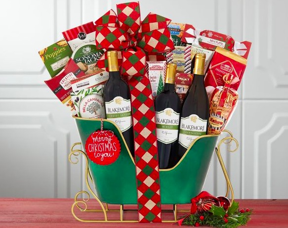 20 Holiday Gift Baskets for the Business Owner on Your List - Winery Holiday Sleigh