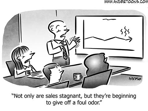 Stagnant Sales Business Cartoon