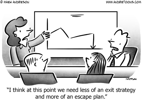 Exit Strategy Business Cartoon