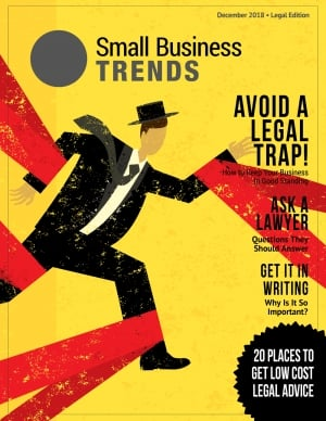 magazine full of articles on legal matters relating to business for entrepreneurs and owners