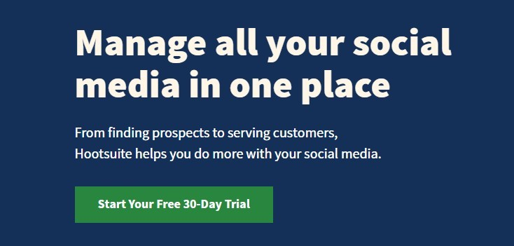 manage all social media channels Hootsuite