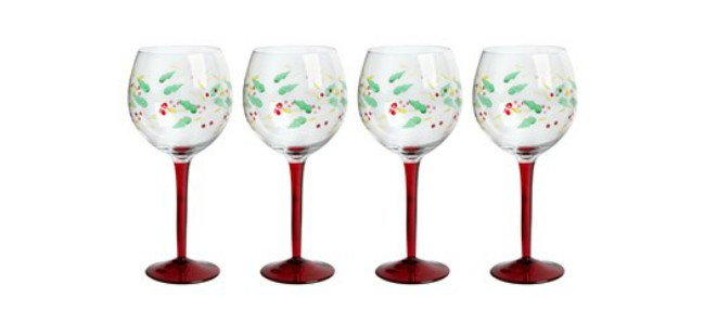 Holly Berry Wine Glasses