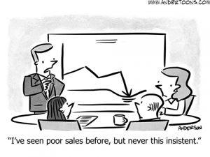 slow sales cartoon