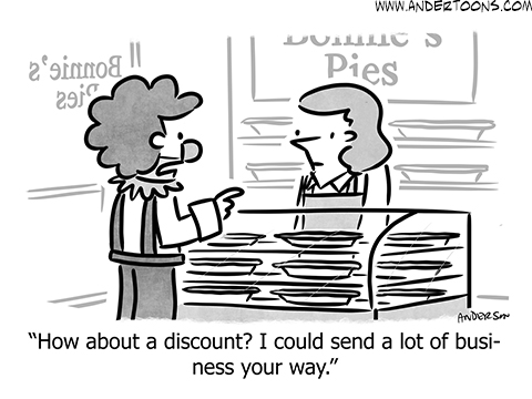 clown customer cartoon