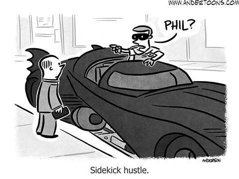 side hustle cartoon