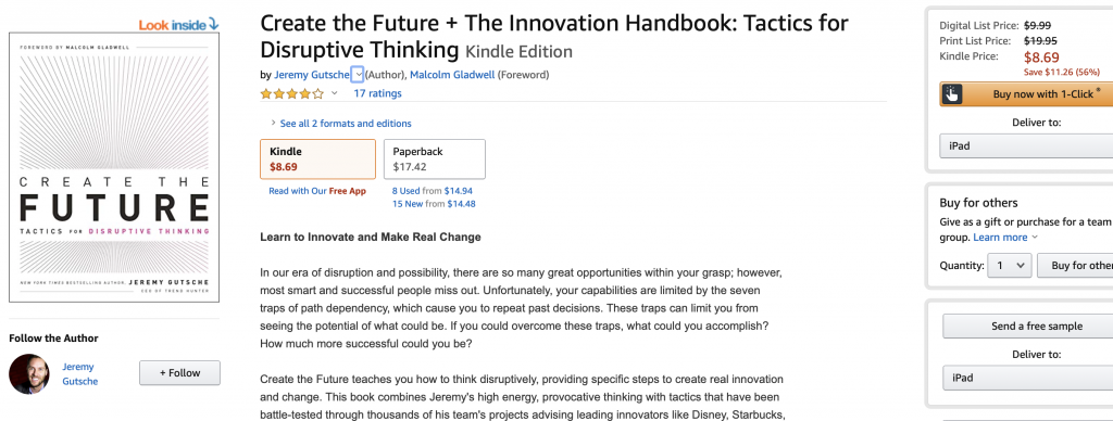 create the future book review screen shot on Amazon