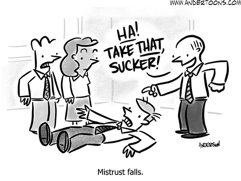 Your Business Has No Room for Trust Fall Pranksters (CARTOON) 1