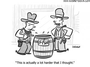 fish in a barrel metaphor cartoon