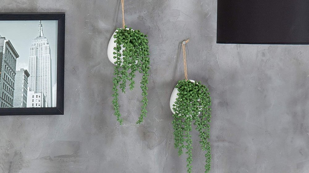 MyGift Artificial String of Pearls Plants in White Ceramic Wall-Hanging Planters