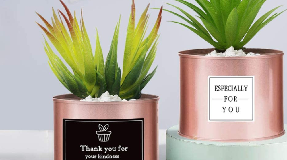 VOSTOR Mini Potted Fake Plants 3 Pcs, Rose Gold Office Decor for Desk
