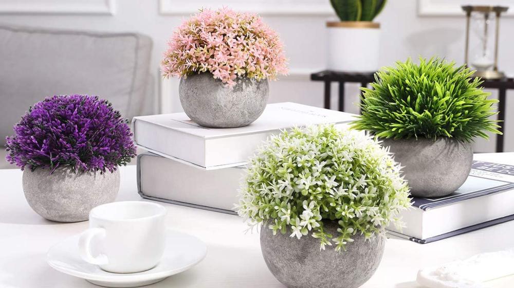 Homemaxs Fake Plants Mini Artificial Plants Potted 4 Pack Topiary Shrubs