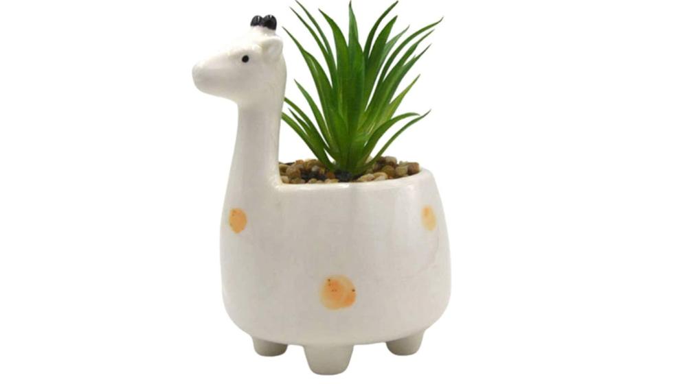 MONMOB Giraffe Potted Plant Artificial Plants