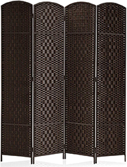 Rose Home Fashion RHF 6 ft.Tall-15.7-inches Wide Diamond Weave Fiber 4 Panels Room Divider