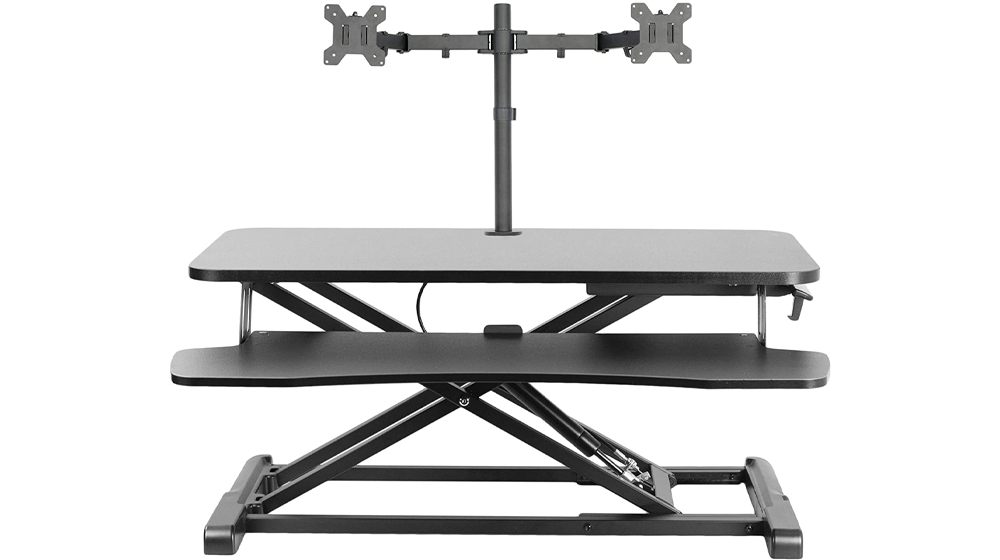 VIVO Black Height Adjustable 32 inch Standing Desk Converter
