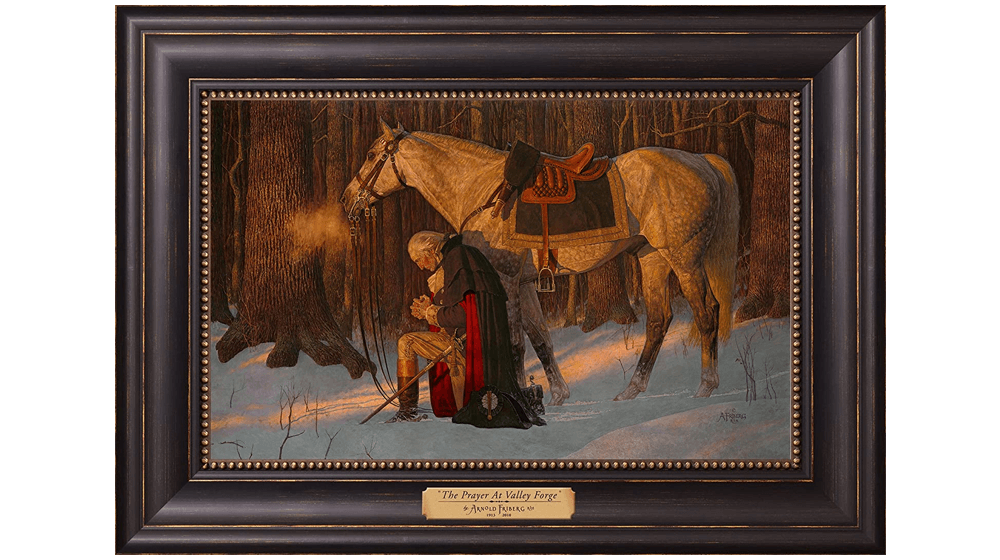 12168 - The Prayer at Valley Forge - 12 x 17 Textured Litho, Black w,gold frame