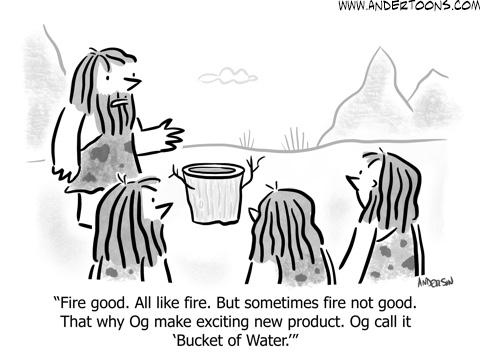 prehistoric elevator pitch cartoon