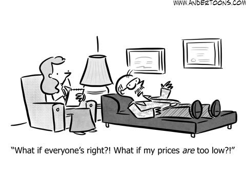 undervaluing business cartoon