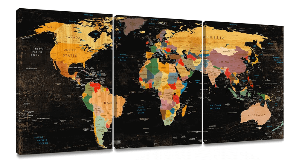 Decor MI Colorful World Map Wall Art on Canvas