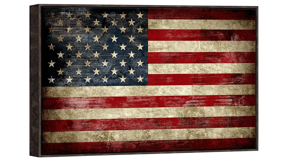 Pyradecor Walnut Framed Large Old Vintage American Flag Canvas