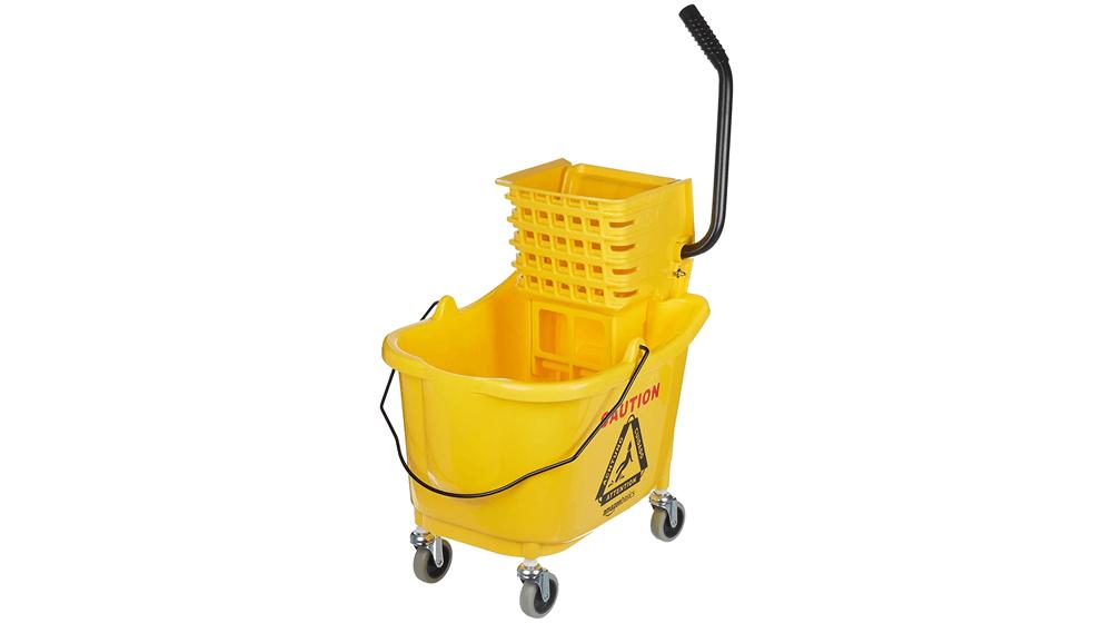 AmazonBasics Side Press Wringer Combo Commercial Mop Bucket on Wheels