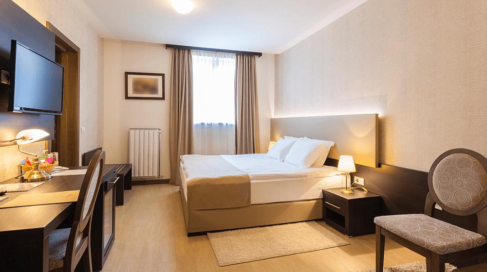 Bright hotel room interior
