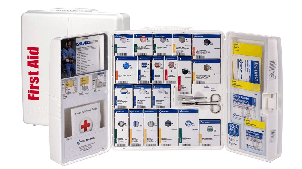 First Aid Only 50 Person Large Plastic SmartCompliance First Aid Cabinet with Medications