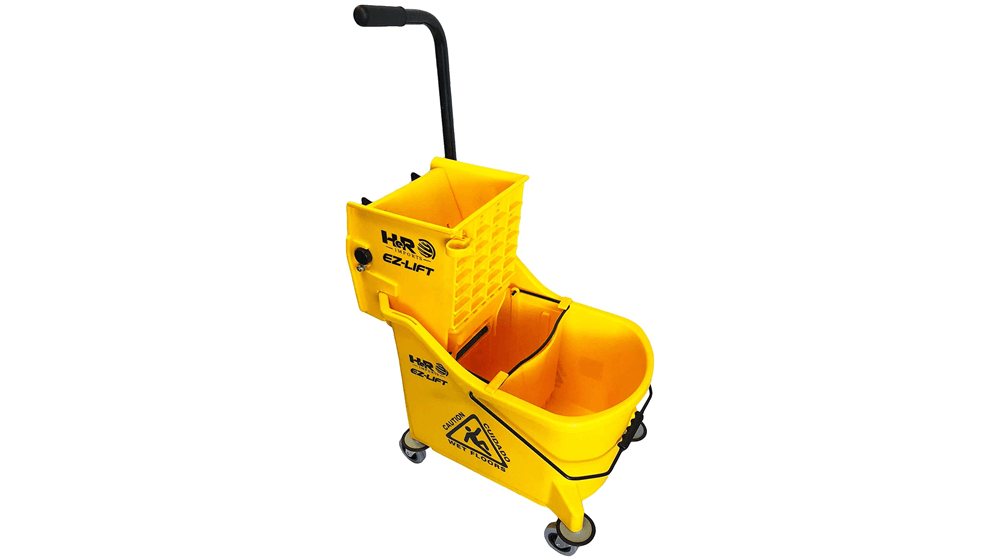 Hero EZ-Lift Dual Cavity Commercial Mop Bucket with Wringer on Wheels