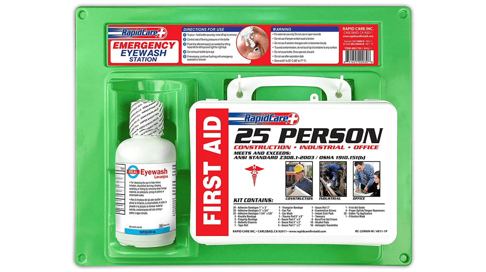 Rapid Care First Aid 661755 16 oz Eye Wash Station with First Aid Kit