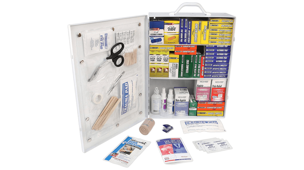 Rapid Care First Aid 80098 3 Shelf All Purpose First Aid Kit Cabinet