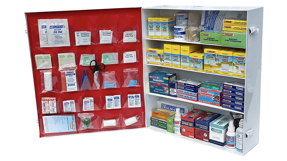 Rapid Care First Aid 865-15-1F 4 Shelf All Purpose Extra Wide First Aid Cabinet, Trauma Center